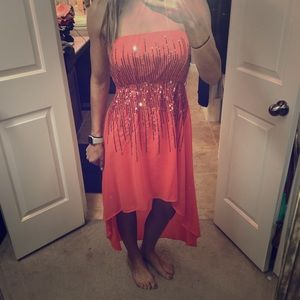 Coral Strapless High Low Sequins Dress